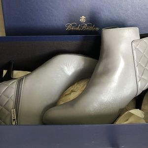 New Gray Leather Booties (9), Brooks Brothers
